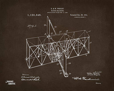 Drawing - 1914 Wright Brothers Flying Machine Patent Espresso by Nikki Marie Smith