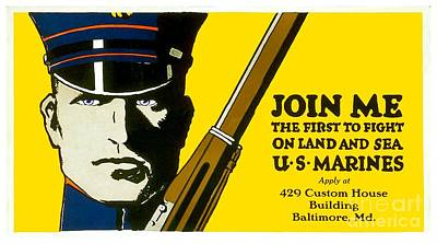 Digital Art - 1915 - United States Marines Recruiting Poster - Color by John Madison