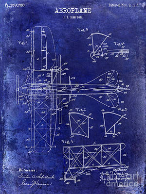 Bi Planes Photograph - 1915 Aeroplane Patent Drawing Blue by Jon Neidert