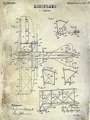 1915 Aeroplane Patent Drawing Art Print