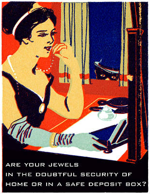 Banker Painting - 1915 Are Your Jewels Safe by Historic Image