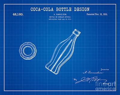 American Food Digital Art - 1915 Coca Cola Bottle Design Patent Art 2 by Nishanth Gopinathan
