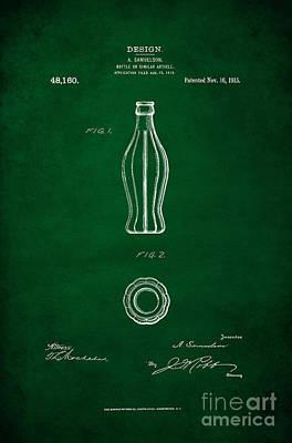 American Food Digital Art - 1915 Coca Cola Bottle Design Patent Art 4 by Nishanth Gopinathan