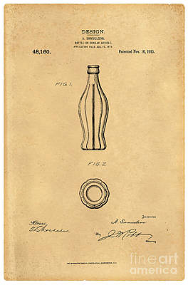 1915 Coca Cola Bottle Design Patent Art 5 Art Print by Nishanth Gopinathan
