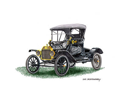 1915 Ford Model T Tin Lizzie Art Print by Jack Pumphrey