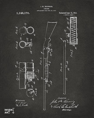 1915 Ithaca Shotgun Patent Gray Art Print by Nikki Marie Smith