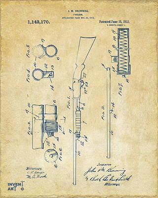 1915 Ithaca Shotgun Patent Vintage Art Print by Nikki Marie Smith