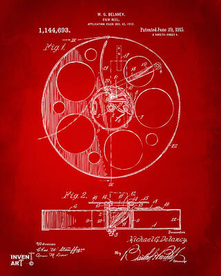 1915 Movie Film Reel Patent Red Art Print by Nikki Marie Smith