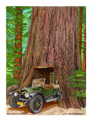Painting - 1915 Willys Overland Transits Giant Redwood  by Jack Pumphrey