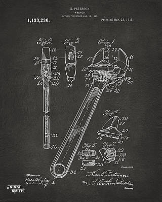 1915 Wrench Patent Artwork - Gray Art Print by Nikki Marie Smith