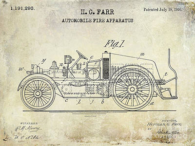 1916 Automobile Fire Apparatus Patent Drawing Art Print