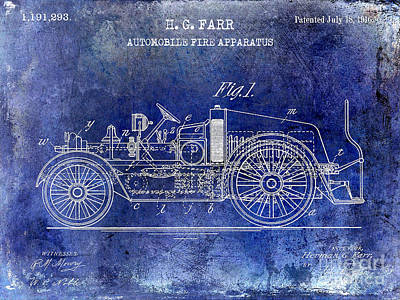 Fire Trucks Photograph - 1916 Automobile Fire Apparatus Patent Drawing Lt Blue by Jon Neidert