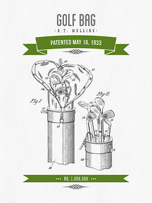 1916 Golf Bag Patent Drawing - Retro Green Print by Aged Pixel
