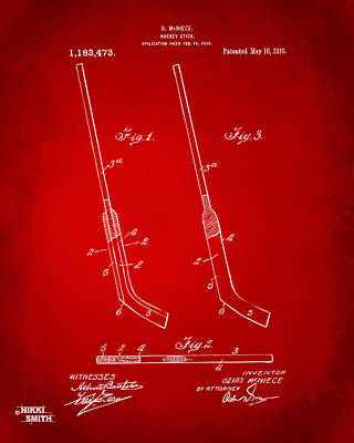 1916 Hockey Goalie Stick Patent Artwork - Red Art Print by Nikki Marie Smith
