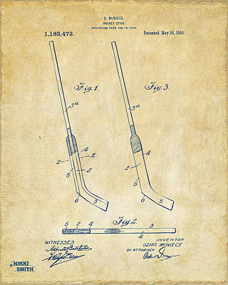 1916 Hockey Goalie Stick Patent Artwork - Vintage Art Print by Nikki Marie Smith