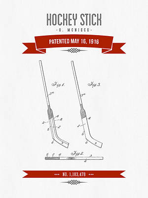 1916 Hockey Stick Patent Drawing - Retro Red Art Print by Aged Pixel