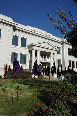 Photograph - 1916 Josephine County Courthouse With Domestic Violence Memorial Flags by Mick Anderson