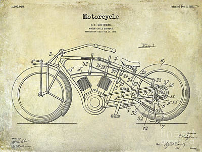Harley Davidson Photograph - 1916 Motorcycle Patent Drawing by Jon Neidert
