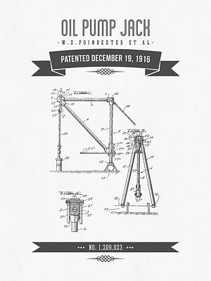 Open Impressionism California Desert - 1916 Oil Pump Jack Patent Drawing - Retro Gray by Aged Pixel