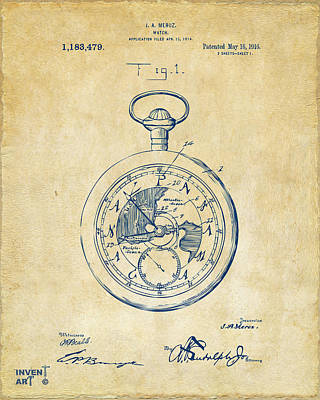 On Paper Digital Art - 1916 Pocket Watch Patent Vintage by Nikki Marie Smith