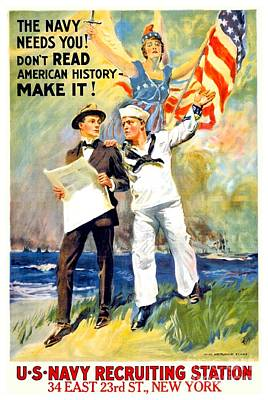 1917 - United States Navy Recruiting Poster - World War One - Color Art Print