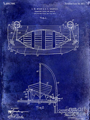 Fishing Photograph - 1917 Davit Patent Drawing Blue by Jon Neidert