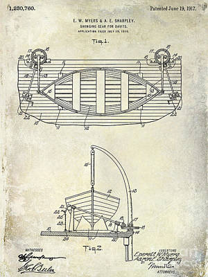 1917 Davit Patent Drawing  Art Print by Jon Neidert