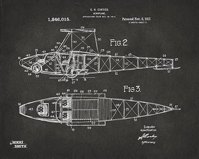 Digital Art - 1917 Glenn Curtiss Aeroplane Patent Artwork 2 - Gray by Nikki Marie Smith