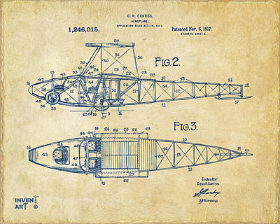 Digital Art - 1917 Glenn Curtiss Aeroplane Patent Artwork 2 Vintage by Nikki Marie Smith