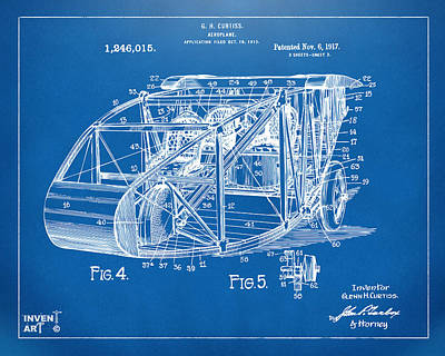 Airlines Digital Art - 1917 Glenn Curtiss Aeroplane Patent Artwork 3 Blueprint by Nikki Marie Smith