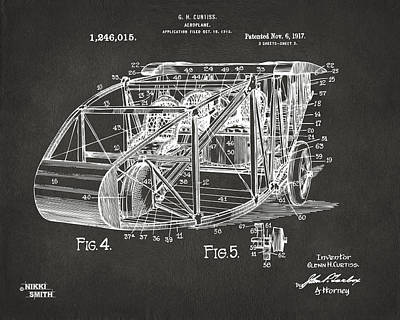 1917 Glenn Curtiss Aeroplane Patent Artwork 3 - Gray Art Print by Nikki Marie Smith