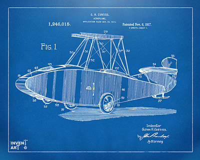 1917 Glenn Curtiss Aeroplane Patent Artwork Blueprint Art Print