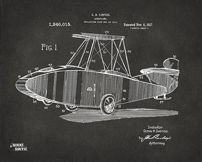 Digital Art - 1917 Glenn Curtiss Aeroplane Patent Artwork - Gray by Nikki Marie Smith