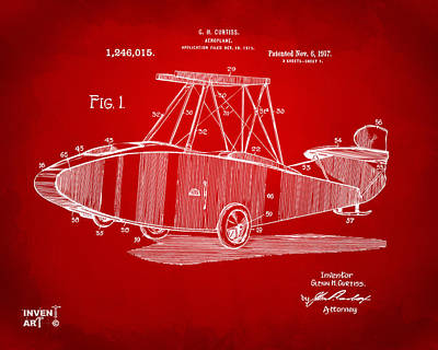 Glenn Drawing - 1917 Glenn Curtiss Aeroplane Patent Artwork Red by Nikki Marie Smith