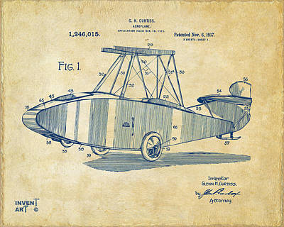 1917 Glenn Curtiss Aeroplane Patent Artwork Vintage Art Print