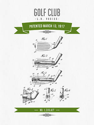 Golf Digital Art - 1917 Golf Club Patent Drawing - Retro Green by Aged Pixel