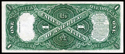 Painting - 1917 One Dollar Note Reverse by Historic Image