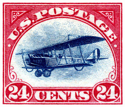 Vintage Aircraft Painting - 1918 Curtiss Jenny Air Mail Stamp by Historic Image