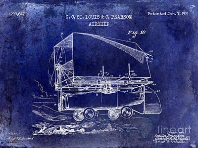 Jet Drawing - 1919 Airship Patent Drawing Blue by Jon Neidert