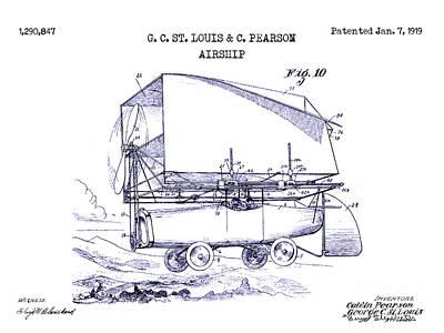 Jet Drawing - 1919 Airship Patent Drawing Blueprint by Jon Neidert