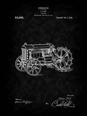 Digital Art - 1919 Ford Tractor Design Patent Art-bk by Barry Jones