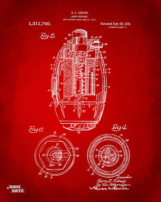 1919 Hand Grenade Patent Artwork - Red Art Print