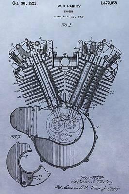 Bike Drawing - 1919 Harley Davidson Engine Patent by Dan Sproul