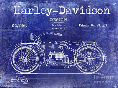 1919 Harley Davidson Patent Drawing Blue Art Print by Jon Neidert