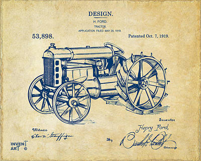 Bold Digital Art - 1919 Henry Ford Tractor Patent Vintage by Nikki Marie Smith