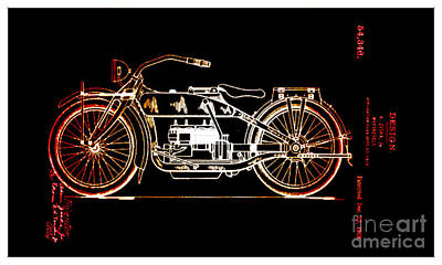 Photograph - 1919 Motocycle Design by Steven Parker