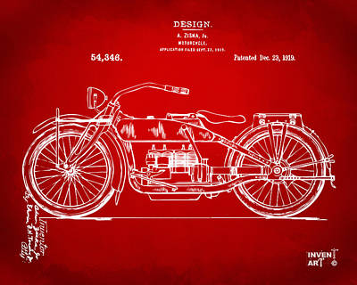 Drawing - 1919 Motorcycle Patent Red by Nikki Marie Smith