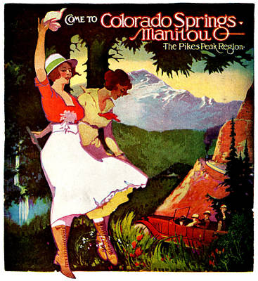 Pikes Peak Painting - 1919 Pikes Peak Colorado Poster by Historic Image