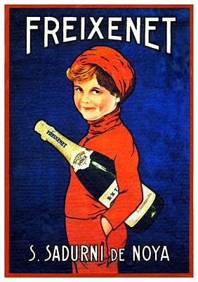 Sparkling Wines Digital Art - 1920 - Freixenet Wines - Advertisement Poster - Color by John Madison