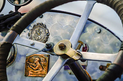 Bugatti Vintage Car Photograph - 1920 Bugatti Type 13 Steering Wheel - Dashboard -1634c by Jill Reger